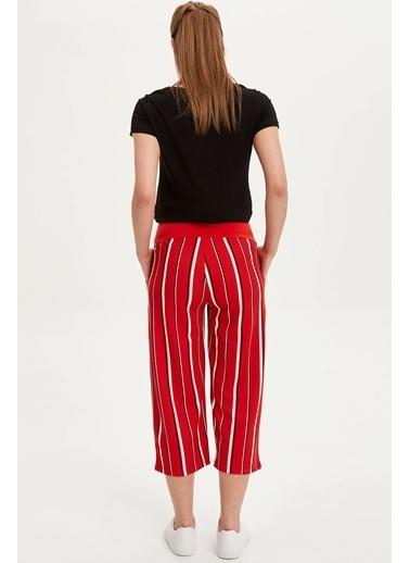 DeFacto Çizgili Relax Fit Hamile Pantolon Kırmızı